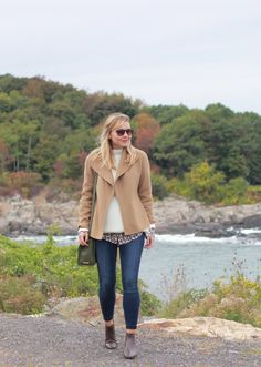 @thesteelemaiden looks effortless in our camel double-faced fall jacket.