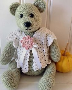 """Original Design By: Maggie Weldon Skill Level: Easy Size: About 15"""" high (11"""" when sitting) Materials: Teddy Bear - Worsted Weight Yarn : Sea Green – 18oz, 870yds (510g, 798m) (Vanna's Choice - Seaspr"""