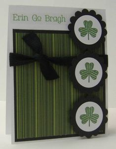 Striped Shamrocks by jpardoe - Cards and Paper Crafts at Splitcoaststampers St Patricks Day Cards, Handmade Thank You Cards, St Paddys, Irish Blessing, Cricut Cards, Creative Pictures, Homemade Cards, Making Ideas, Holiday Cards