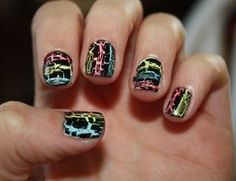 Paint your nails different colors in stripes then use the crackle polish over it. I love the after look.