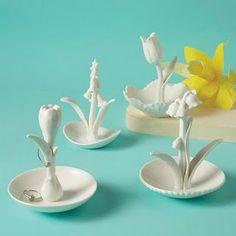 ceramic flowers ring holder