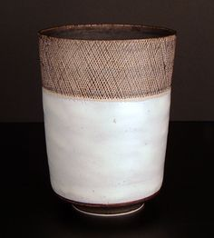 Lucie Rie    Tall Vase with Sgrafitto Rim, c.1955. Stoneware