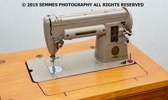 VTG SINGER Model 301A Slant Needle Sewing Machine W/ Original Table & acc, book