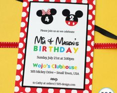 mickey and minnie b day party | Mickey Mouse and Minnie Mouse Invitation - Printable Invitation by 505 ...