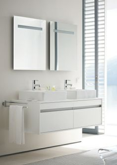 Duravit - Bathroom series: Katho - bathroom furniture from Duravit. Comes in many colors and configurations. Wall Hung Vanity, Bathroom Vanity Cabinets, Mirror Cabinets, Bathroom Furniture, Duravit, Family Bathroom, Small Bathroom, Wash Basin Cabinet, Basin Unit