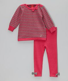 Take a look at this Gray & Raspberry Sweater & Pants - Infant & Toddler by Lulu on #zulily today!