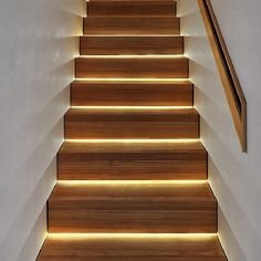 "LED lighting under stairs. A much more modern look than ""vent lights"" in the walls. Staircase Wall Lighting, Outdoor Stair Lighting, Led Stair Lights, Outdoor Stairs, Stairs With Lights, Staircase Landing, Staircase Remodel, Stairs Light Design, Home Stairs Design"