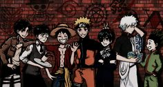 Luffy One Piece, Naruto Shippuden, Kaneki Tokyo Ghoul, Eren Attack on Titan, Ciel Black Butler, Gintoki Gintama, Gon Hunter x Hunter Anime Crossover by Imaan Ahmed (Fruits Punch Samurai)