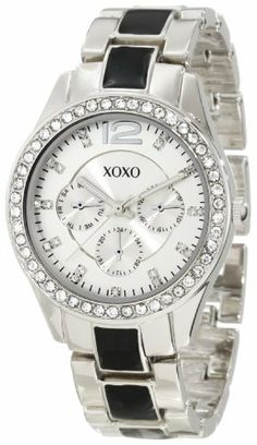 XOXO Women's XO5480 Silver-Tone And Black Bracelet With Rhinestones Bezel Watch XOXO. $19.99. Small eyes on face (do not function; is for design purpose only). Clear rhinestones accented bezel. Jewelry clasp. Case diameter: 36 mm. Quality analog-quartz movement