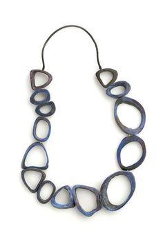 Klimt02: DANIELA BOIERI-ITALY jewelry design unique handmade jewelry images jewelers-Necklace: Blue, 2006 Bone, pigment, 18k gold ø 60 cm:
