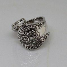 Spoon Ring Antique Silverware Ring Silverware Jewelry - YORK 1900 - Made in USA Spoon THUMB Ring Keepsake Heirloom Gift Sz 11 by SilverwareCreations on Etsy