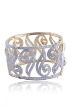Golden and Off-white Metal and Stone Party and Festival Bracelet