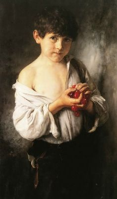 Boy with cherries By Nikolaos Gyzis, Greek painter. Figure Painting, Painting & Drawing, Watercolor Paintings, Greece Painting, Street Art, Art Database, Chiaroscuro, Oeuvre D'art, Contemporary Artists