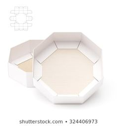 Octagonal Tray Box with Die Line Template Cardboard Design, Cardboard Crafts, Food Packaging Design, Box Packaging, Paper Box Template, Diy Storage Boxes, Creative Gift Wrapping, Box Patterns, Cardboard Packaging