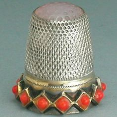 Vintage Stone Top Sterling Silver Coral Thimble Germany Mid 20th Century | eBay /  Mar 10, 2014 / US $31.00