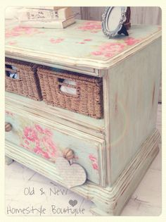 This old tv unit I did last year no longer worked in my lounge so I've given it a paint with some aqua chalk paint, decoupaged with wallpaper (purposely wrinkling it to give it that crackled look) & finished with a dark wax & new handles to make a pretty storage unit for the bathroom #decoupagefurniture