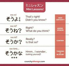 """easy-japan: """"easy-japan: """"Today's card will help you to understand difference nuance between そうよ、そうね、そうか、and そうかな。。。BUT THAT'S NOT ALL! By understanding them, you will also be able to get better understand with ending-particle (よ,ね and か) ! Basic Japanese Words, Japanese Phrases, Study Japanese, Japanese Kanji, Learning Japanese, Learning Italian, Japanese Language Lessons, Japanese Language Proficiency Test, Korean Language"""