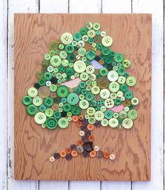 Veja o passo a passo de um lindo quadro com botões para decorar com estilo o quarto de bebês e crianças. Um arraso!