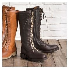 Aigle Chantelace Laced Leather Boot (Women's) - Handcrafted in France