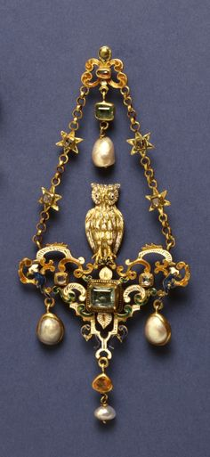 Owl Pendant, European, 19th c, gold, enamel, tourmaline, ruby, diamond, pearl. This pendant was formerly thought to be from the 16th century because of its late Renaissance-style enameled gold strapwork, baroque pearls, and the square-cut gems in box settings. Walters Art Museum.