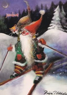 Raija Nokkala. Elves And Fairies, Winter's Tale, Mythological Creatures, Christmas Gnome, Vintage Christmas Cards, Cool Paintings, Cute Characters, Vintage Postcards, Illustration