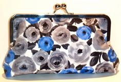 Framed Clutch Blue and Gray Floral by nangatesdesigns on Etsy