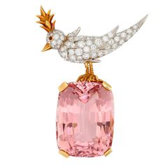 """TIFFANY Kunzite and Diamond Bird on the Rock Brooch – Samual Saidian A spectacular Tiffany Schlumberger"""" bird on the rock"""". Containing a superb Kunzite weighing aprox 55 carats. With original Tiffany box. 1970s"""