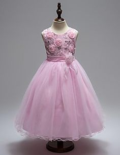 bal jurk knie lengte bloem meisje jurk - organza mouwloze juweel hals met sequin door ydn – EUR € 90.26