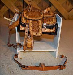 tooled western saddle set
