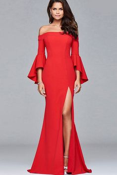 bcd89abf84 Women Red Flare Sleeve Slit Off Shoulder Sexy Maxi Mermaid Dress - L  Evening Dresses With