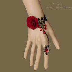 Gothic Red Rose Flower Beads Drop Bronze Black Lace Adjustable Ring Bracelet Set