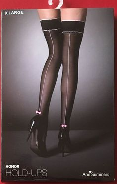 f1a4e371524f1 Glamourous Ann Summers Hold Up Seamed Nylon Stockings Black Extra Large  #fashion #clothes #