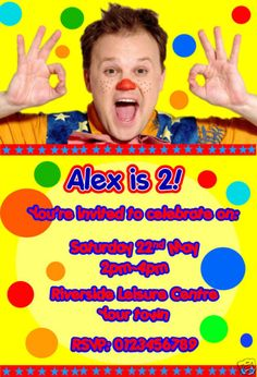 Personalised Mr Tumble Party invitations x 10 Special Birthday, 2nd Birthday Parties, Birthday Ideas, Mr Tumble, Birthday Invitations, Kids Meals, Birthdays, Stationery Shop, Confidence