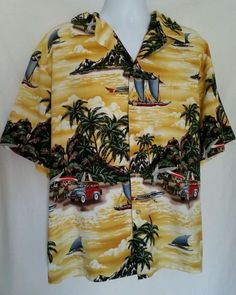 RJC Hawaiian Shirt Vibrant Surf Boards Woody Wagon Beach Size 3XL Made in Hawaii #RJC #Hawaiian
