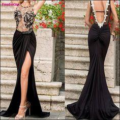 3dd5aff660 FeelinGirl Elegant Party Dresses Women Floor-Length Black Lace Sexy  Backless High Split Summer Long Maxi Translucent Evening Prom Dress    1696964484