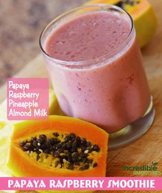http://www.incrediblesmoothies.com/green-smoothie-weight-loss/ This smoothie is 2 small papayas (about 1 cup), 1 cup raspberries, 1 cup pineapple and about 8 ounces of almond milk. It was delicious!!