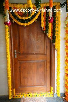 Decor by Krishna AP/ Telangana/ Karnataka/ Tamilnadu/ USA/Australia Door Flower Decoration, Home Flower Decor, Paper Flower Decor, Background Decoration, Flower Decorations, Housewarming Decorations, Diy Diwali Decorations, Backdrop Decorations, Festival Decorations