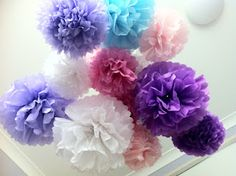 Home made tissue paper pompoms