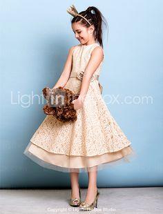 Lanting Bride Tea-length Lace Junior Bridesmaid Dress A-line Jewel with Bow(s) / Flower(s) / Sash / Ribbon 2016 - $80.99
