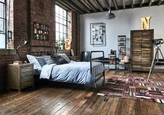 Rustic Wood Armoire in industrial bedroom design via Barker and Stonehouse Master Bedroom Design, Modern Bedroom, Bedroom Decor, Bedroom Ideas, Bedroom Pictures, Urban Interior Design, Industrial Interior Design, Rustic Industrial Bedroom, Industrial Style