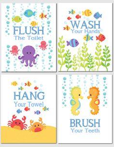Printable Bathroom Art Kids Wall Art Sea by JustSayItOutLoud