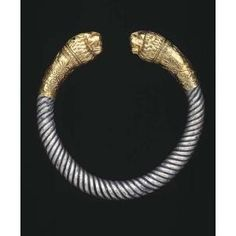Silver bracelet with gold finials, Greek  Date: end of 4th century B.C.