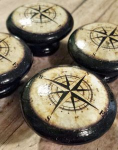 Handmade Nautical Birch Wood Knob Drawer Pulls, Antique Style Compass  Cabinet Pull Handles, 1.5