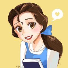 Disney Princess Drawings, Disney Princess Art, Disney Fan Art, Disney Drawings, Belle Disney, Cute Disney, Tinkerbell Disney, Disney Disney, Princesa Disney Frozen