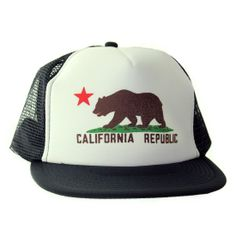 abe39c57afb Rock the California Republic Bear on this Snapback Flat Bill Mesh Truckers  Cap by Dolphin Shirt Company. Comes in assorted colors.