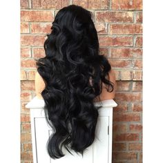 """Kourtney Black Wavy Human Hair Blend Wig 26"""" ($133) ❤ liked on Polyvore featuring beauty products, haircare, hair styling tools, hair and hair styles"""