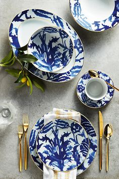 This is the ultimate beachy dinnerware but it's sophisticated, not kitchy.  from Anthropologie
