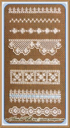 Cross Stitch lace sampler. One pattern even includes ribbon embellishment.