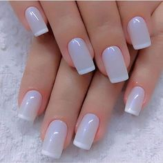 Pretty lilac nails with white tip