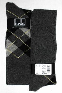 Grey Black Argyle Cashmere Blend Mens Dress Sock - b. ella